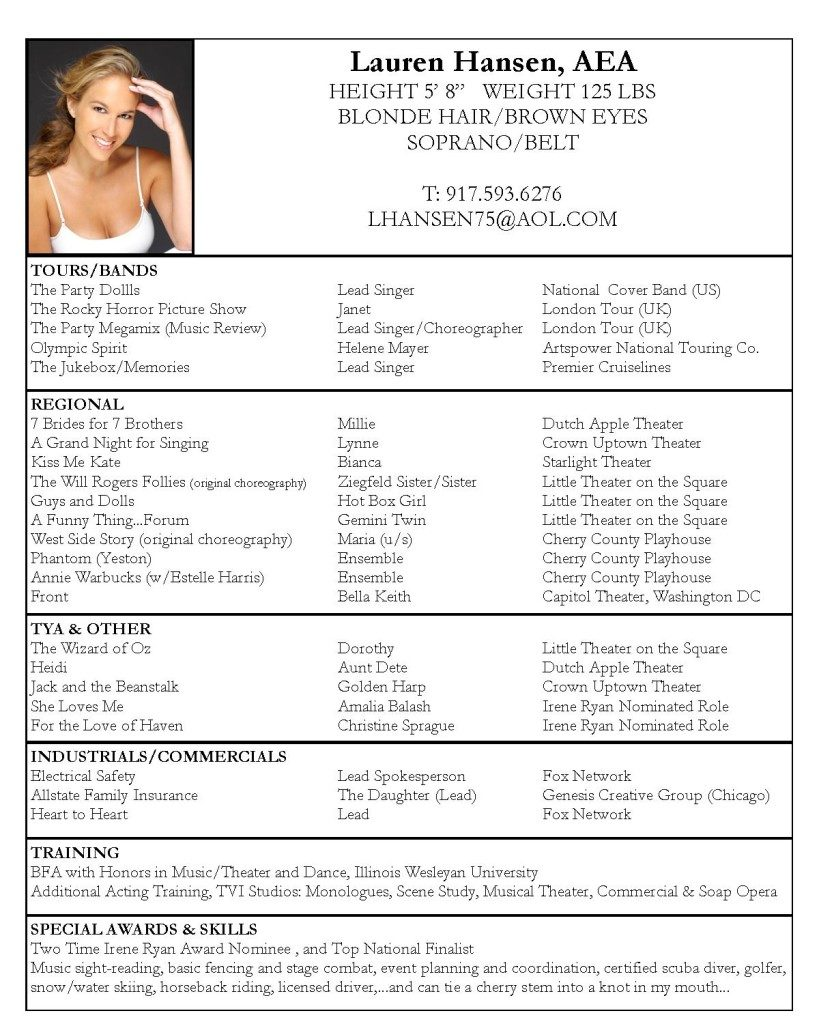 Musical Theater Audition Resume Template Vosvetenet – Musician Resume Template