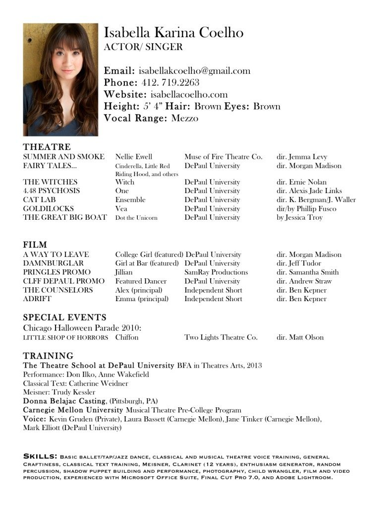 Free resume samples resume templates for Actors cv template free