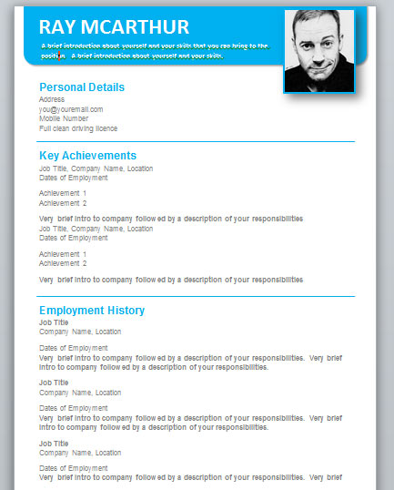Resume Templates Word Free Download » Cv Template Word Download