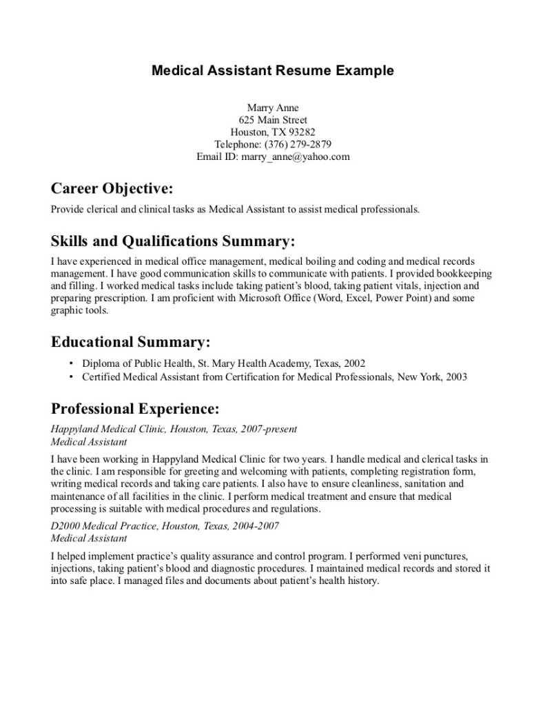 Resume Template  Medical Assistant Resume Examples