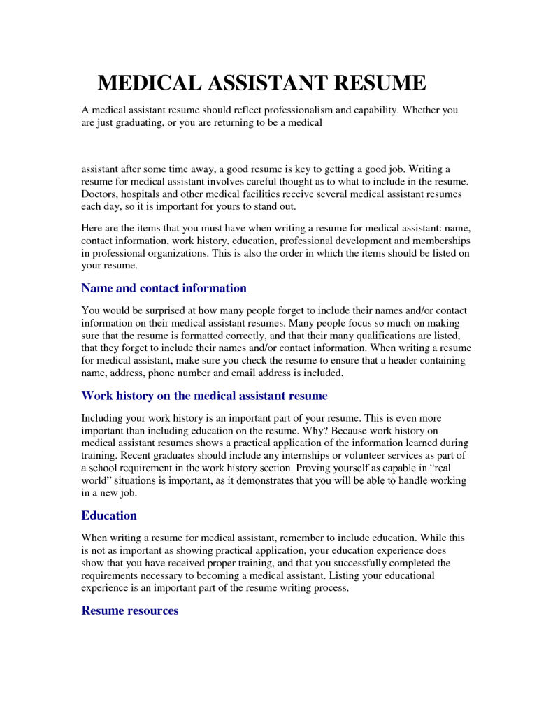 medical assistant resume samples 1 791 1024