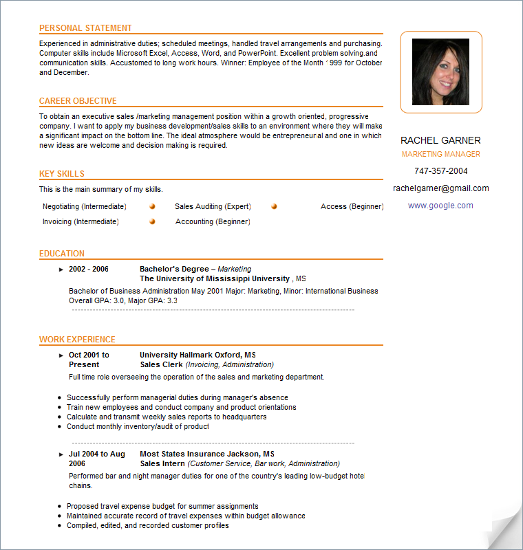 Resumes Samples | Resume Format Download Pdf