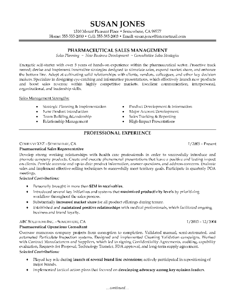 pharmaceutical sales resume sales resume template 7921024 - Outside Sales Resume Examples