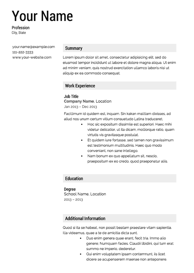 Building your resume Template Resume Templates