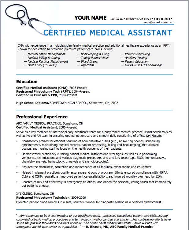 Sample Resume For Medical Assistant | Sample Resume And Free