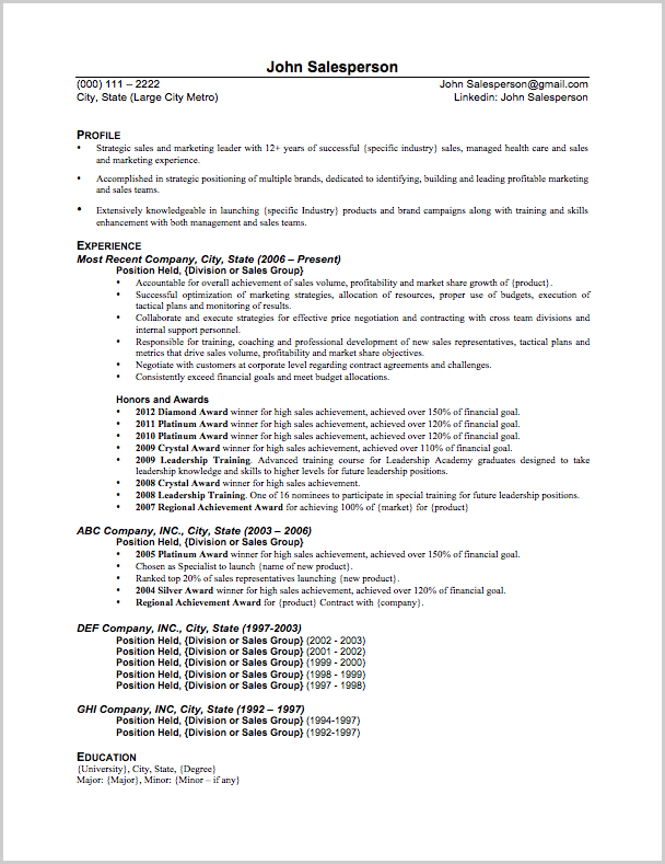 sales resume sample