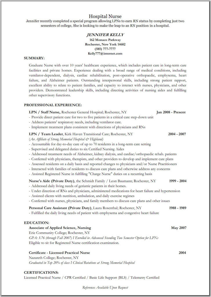Emergency Room Nurse Resume Templates | Resume Templates