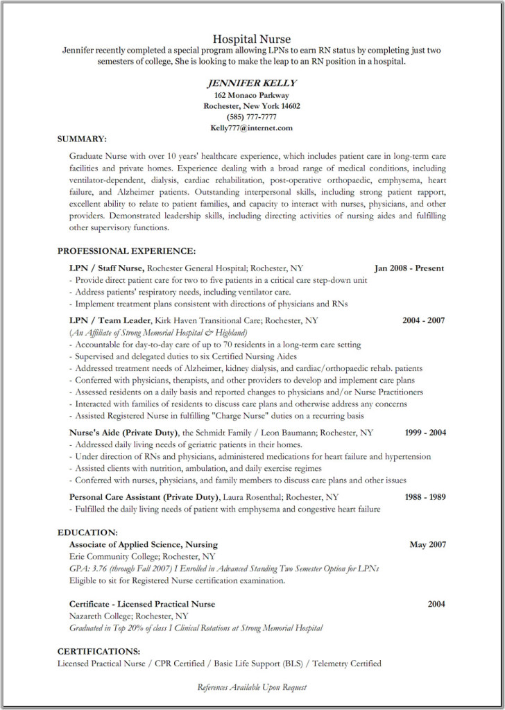 Hospital Resume Examples  Resume Examples And Free Resume Builder
