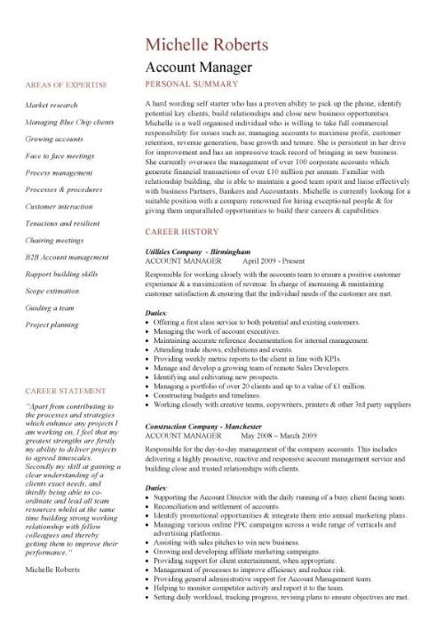 Account Manager Resume Template | Resume Templates