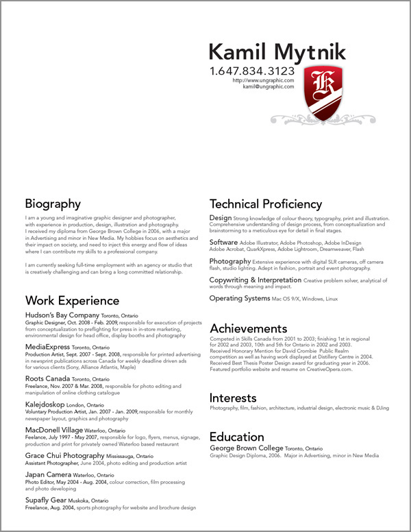 Graphic Design Resume Samples | Resume Templates