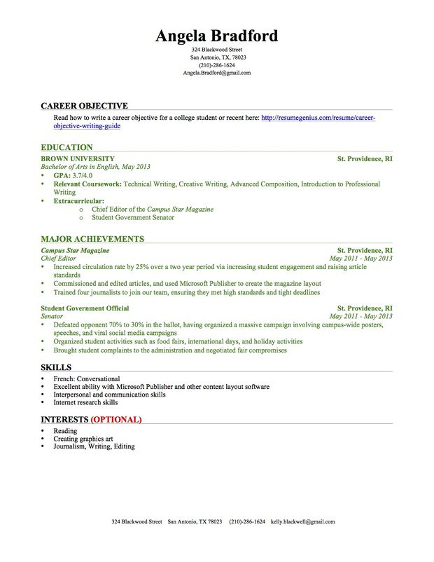 Ms Word Format Resume. First Year Student College Resume Pdf Free ...