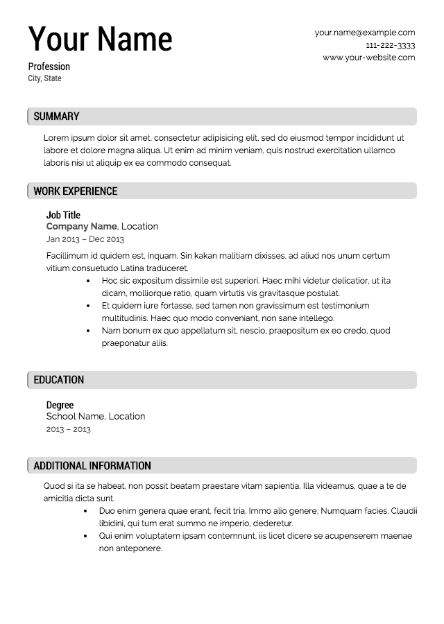 Wonderful Business Resume Template Professional