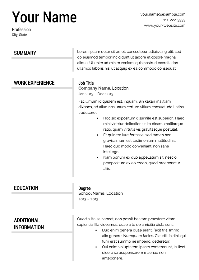formatted resume template professional - Resumes Template