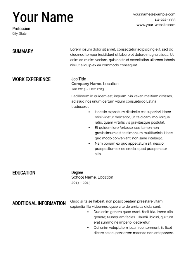 Short Resume Template Professional  Short Resume Examples