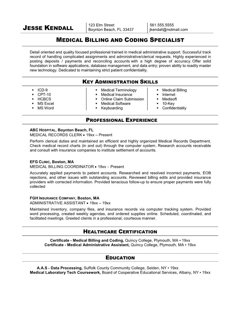 Resume Template  Medical Resume Template