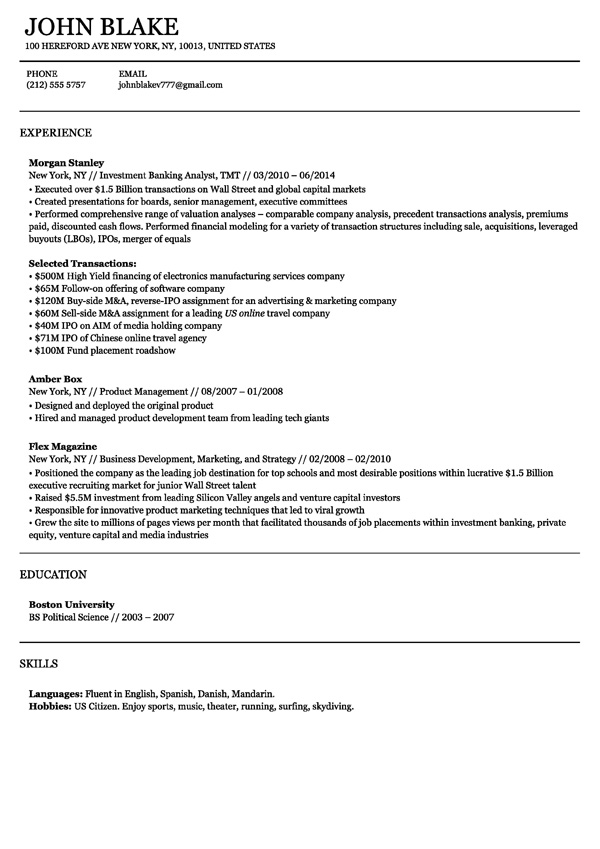 New Business Resume Templates  Resume Templates