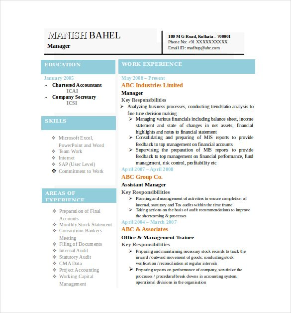 latest chartered accountant resume template printable resume pdf doc