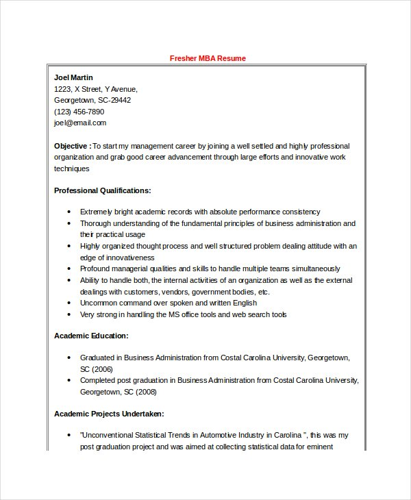 mba finance fresher resume word format template printable resume pdf doc