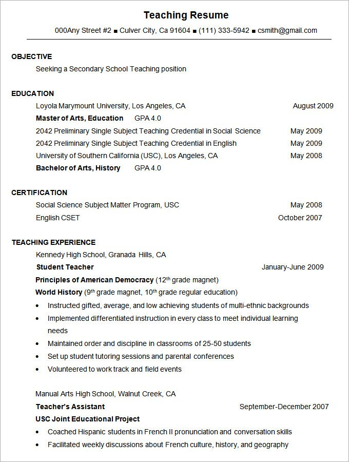 Fieldstation.co  Format Of A Resume